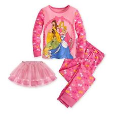 New Girls 5 5T Disney Princess Ballet Tutu Pajama 3 Piece Set Belle Beauty Beast
