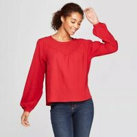 Universal Thread 550909 Women's Long Sleeve Yoke Detail Blouse