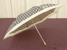 Auth Christian Dior Trotter Folding Umbrella Beige Brown $0 Ship 26141018000 rG