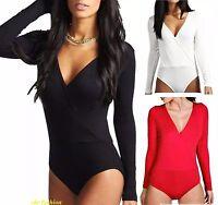 Womens Wrap Bodysuit Leotard Top Long Sleeve Wrap Cross Over Dep Plunge V Neck