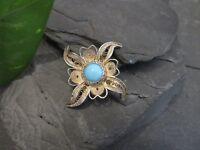 Bezaubernde Jugendstil Art Deco Silber Brosche Filigran Türkis Blau Blume Blüte