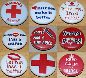 NURSE Button Badge 25mm / 1 inch HEN PARTY DRESS-UP FANCY DRESS HOSPITAL