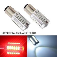 2 x 1157 P21/5W 380 BAY15D 33smd CAR STOP TAIL BRAKE Reverse LED BULBS LIGHT 12V