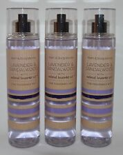 LOT OF 3 BATH & BODY WORKS LAVENDER SANDALWOOD FINE FRAGRANCE MIST SPRAY 8 OZ