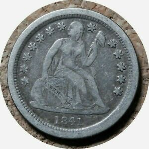 elf Seated Liberty Dime 1841 O  Drapery at Elbow