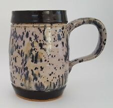 Handcrafted Pottery Stoneware Tankard Mug Oversize Coffee Gray Blue Black 5 1/2
