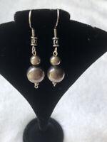 #715 Vintage 925 Bench Beads, Sterling Silver 925 Fancy Wires Hooks Earrings