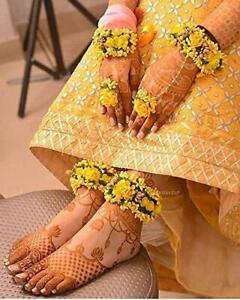 Flower Floral Set For Haldi Baby Shower Mehndi Godbharai For Hand & Leg - Yellow