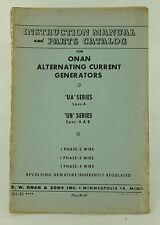 Vintage ONAN UA UB Series Generator Intruction Manual & Parts Catalog