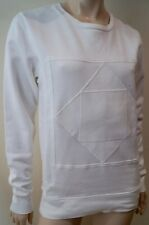 Sandro Femme blanc 100% Coton Col Rond Manches Longues Pull Sweat