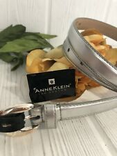 Anne Klein For Oroton NWT Silver Leather Skinny Belt Medium