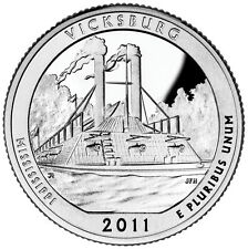 2011 S SILVER GEM PROOF VICKSBURG AMERICA THE BEAUTIFUL QUARTER 90% SILVER
