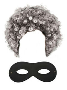 Gangster Granny Set Grey Old Lady Wig AFRO AND EYE MASK World Book Day Costume