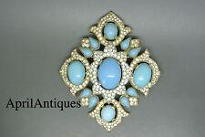 VINTAGE CROWN TRIFARI Jewels of India TURCHESE CABOCHON VETRO CROCE SPILLA