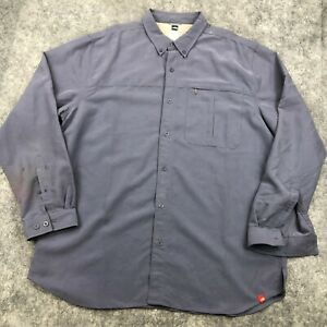 The North Face Button Up Shirt Mens 2XL Gray Long Sleeve Nylon Polyester Hiking*