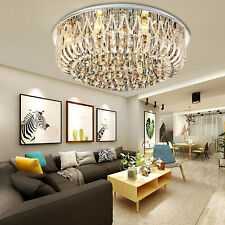 Modern LED Crystal Round Chandelier Ceiling Light W/ Remote Control Living Room