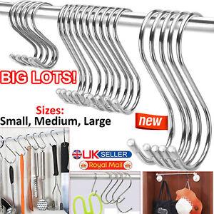 Stainless Steel S Hooks 10/20/30/40/50 Kitchen Utensil Clothes Hanger Hanging UK