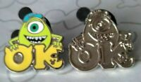Mike OK & Chaser Monsters University 2019 Hidden Mickey DLR Disney Pin Set