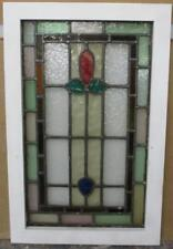 """MID SIZE OLD ENGLISH LEADED STAINED GLASS WINDOW Nice Border Floral 17.5 x 27.5"""""""