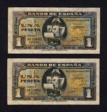 F.C. PAREJA CORRELATIVA 1 PESETA SEPTIEMBRE 1940 , SIN SERIE , MBC+ .