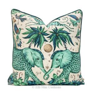 Emma Shipley Designer Zambezi Green Blue Elephants Cushion Pillow Sofa Cover