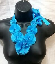 Blue Cocktail Evening Bead Flower Floral Ribbon Silk Style Bib Collar Necklace