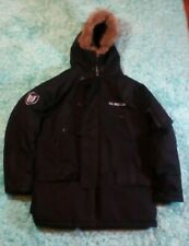 Men's U.S. Polo Assn. Black Winter Parka Jacket Medium Faux Fur