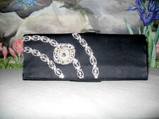 New $335 NEYM Black Satin CZ Gems Evening Bag Clutch