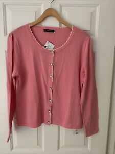Kaleidoscope Size 16 / 18 Cotton Cardigan Dusty Pink White New With Tags