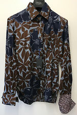 """Paul Smith PS Chemise DOUBLE Manchette Taille M Pit to Pit 20.5"""" SLIM FIT FLORAL"""