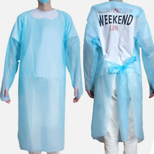 10pcs Disposable Isolation Gown Waterproof Open Back Protective Aprons Workwear