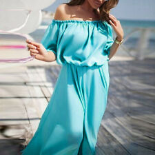 Women Slash Neck Off Shoulder Dress Boho Long Maxi Evening Party Beach Dress