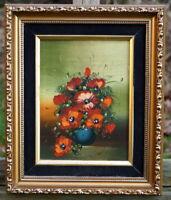 altes Ölgemälde Schlüsselkasten Stillleben Blumen signierte Künstlerarbeit