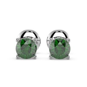 0.50 Carat Round Shaped Green Emerald Stud Earring, Sterling Silver