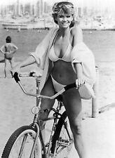 MARKIE POST beach, bikini & bike b/w 8x10 candid photo