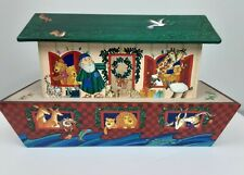 "Hallmark Noah's Ark Box Storage 13"" Christmas Card Candy Holder Top Lid Opens"