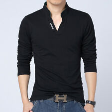 HOT Men Polo Collar Shirt Long Sleeved Casual T-shirt V-neck Tee Shirts Tops