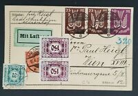 1923 Germany to Vienna Austria Multi Mixed Franking Early Airmail Postcard Cover