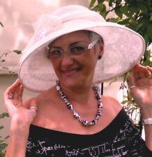 Sombrero Mujer blanco crema para eventos boda con motivo Ascot de paja
