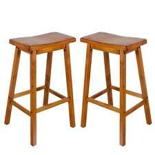 "Gaucho Set of 2 Kitchen Dining 29""H Bar Saddle Stools Barstool Solid Wood in Oak"
