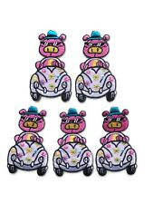 Pink Pig w/ Sunglasses Driving Purple VW Buggy Flowers Iron-On Patch (set of 5)