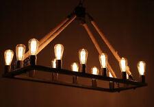 Large Industrial Farmhouse Iron Chandelier Light Edison Bar Restaurant Rustic 14