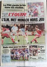 b)L'Equipe Journal 5/10/1992; L'OM met Monaco Hors Jeu/ PSg-Metz 5-1/ Boks