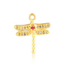 Yellow Gold Plated 925 Silver Beautiful Butterfly Design Ruby Diamond Charms