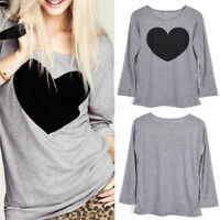 Women Love Heart Blouse Loose Casual Long Sleeve T Shirt Tops Tee Women Fashion!