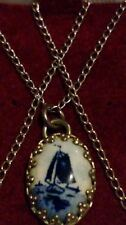 Sterling Silver Dutch BLUE DELFT Hand Painted Bone China Sailboat NECKLACE*****