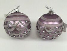 Giftcraft Christmas Set/2 Purple Ball Ornaments Christmas Tree Glitter Crystals