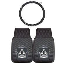 Hockey LA Kings Rubber Floor Mats & Steering Wheel Cover 3PC Set Universal Fit