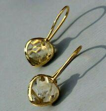 MODERN GOLD PLATED NATURAL CITRINE EARRINGS.