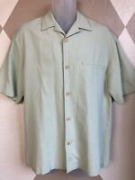 Nat Nast Luxury Originals Mens Small  Button Front 100% Silk Shirt Green